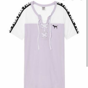 VS PINK Lace Up Campus Tee